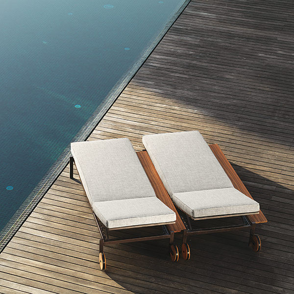 doubling up: two casilda sunbeds side by side (combination B6|C88|L8|I2: mocha frame, grey cushion)