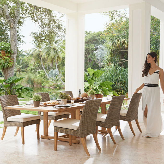 six pepper marsh dining side chairs with optional seat pad cushionsimage provided courtesy of gloster furniture, inc.