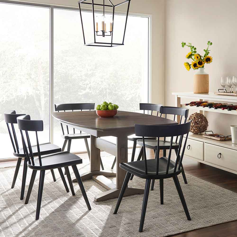 clark table with butterfly leaf and six painted lana chairs