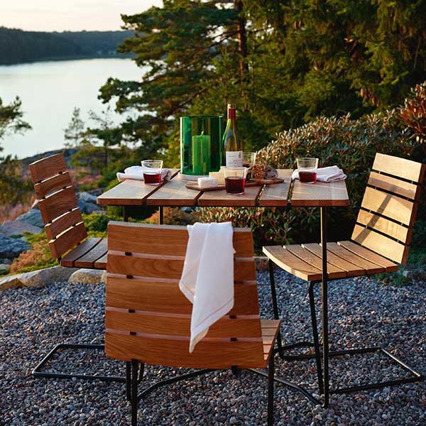"""happy hour: three grinda side chairs paired with grinda's 33.5"""" square dining table"""
