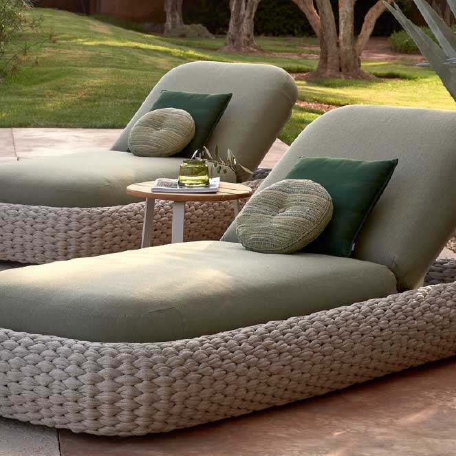 poolside luxury: two kobo loungers with their plush cushions all in outdoor, quick-dry materials (rope in pepper | deco cushions included in price)
