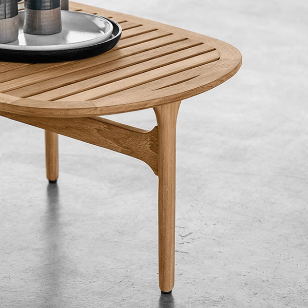 """workmanship detail: bay 50"""" oval coffee tableimage provided courtesy of gloster furniture, inc."""