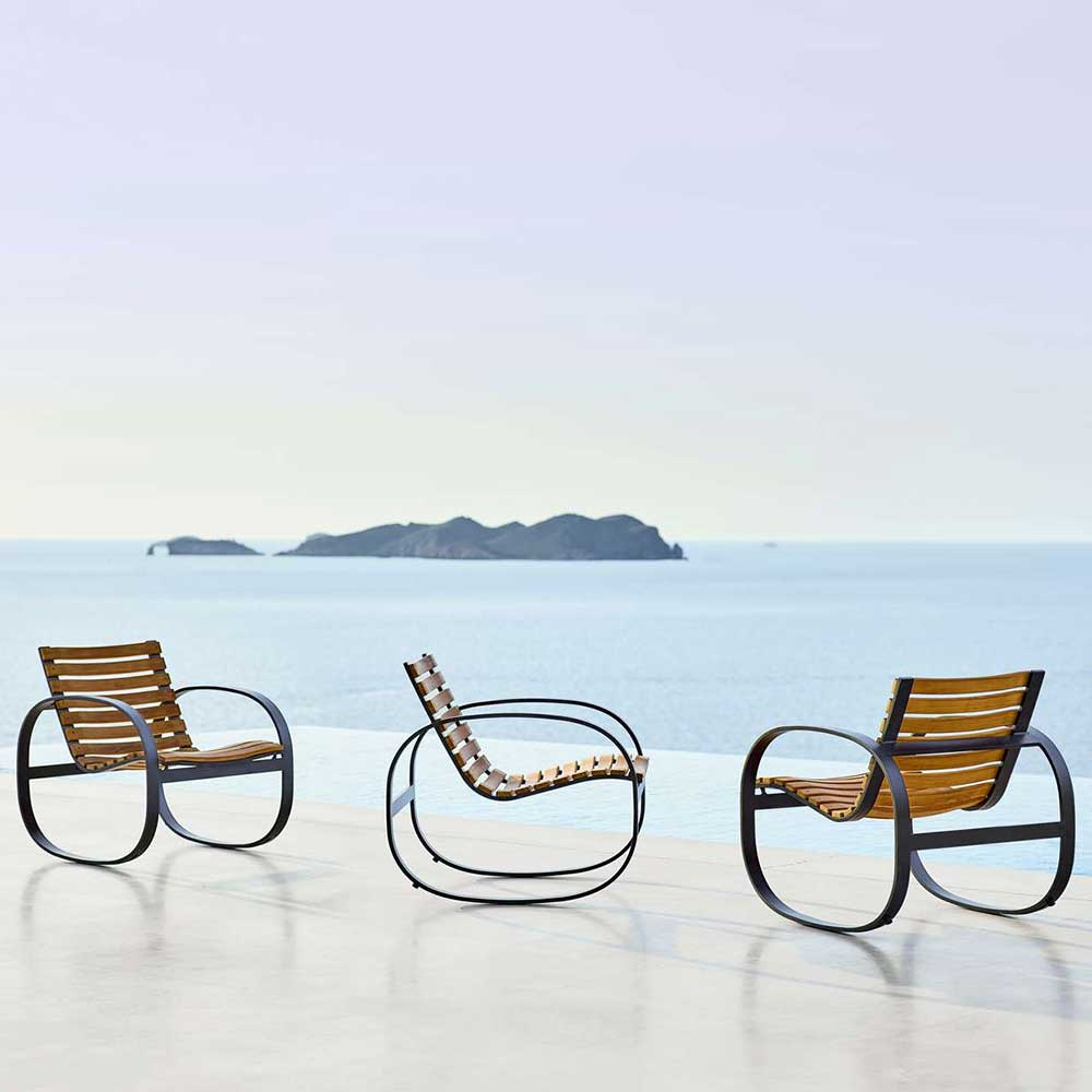 aesthetic in any view, front, side or back: cane-line parc rocking chair (lava-grey, powder-coated aluminum/ teak)