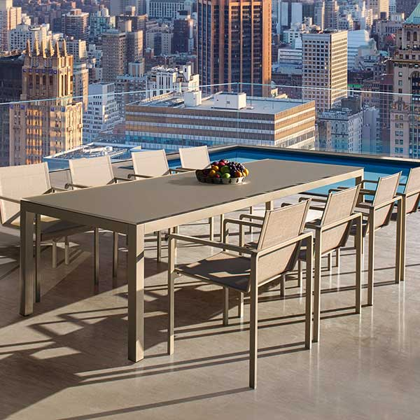 eight alura dining armchairs w/ coated aluminum frame (sand) and sling (batyline, pearl gray)