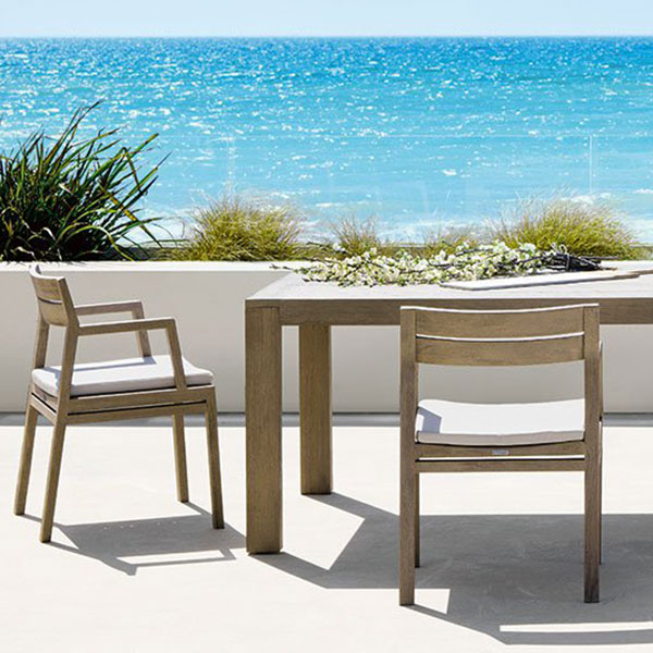 "views of the sea: 118"" rectangular dining table with 4 dining armchairs (pickled teak/ nature white)"