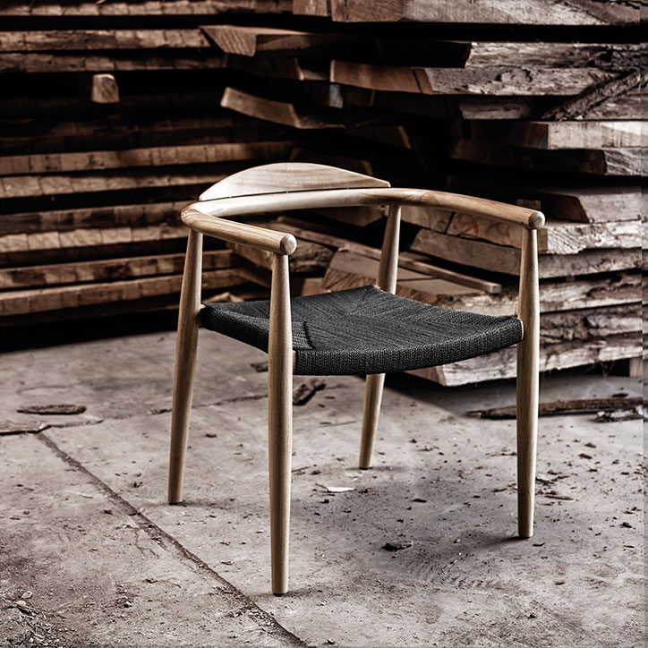 dansk stacking armchair made from teak and rope (color: flint)image provided courtesy of gloster furniture, inc.