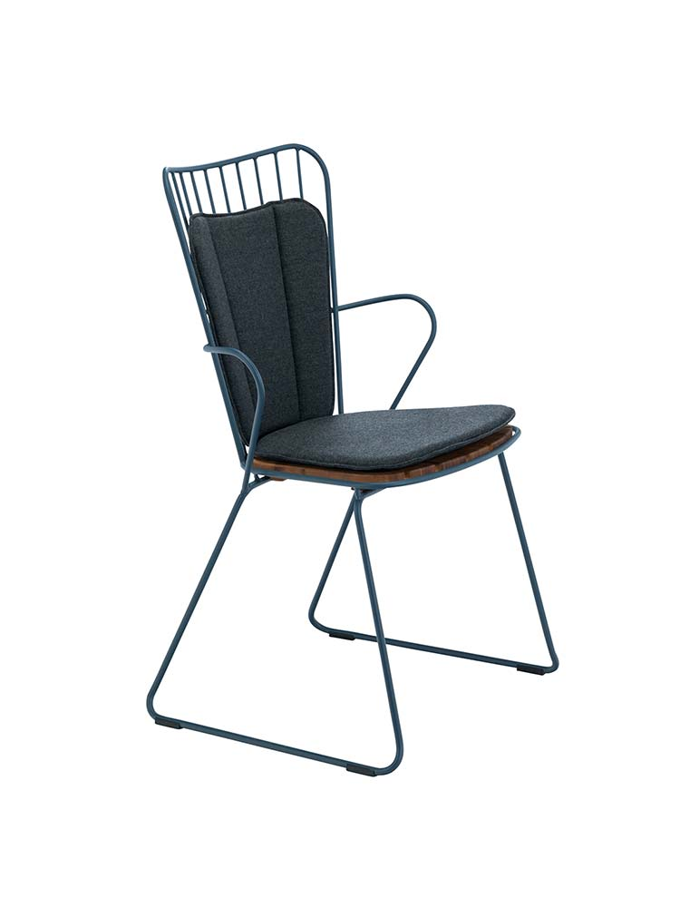 Paon Dining Chair in Midnight Blue with Optional Cushion in Outdoor Fabric