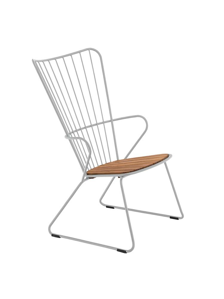 Frame Powder-Coated Solid Metal, Taupe | Seat Bamboo Lamellas