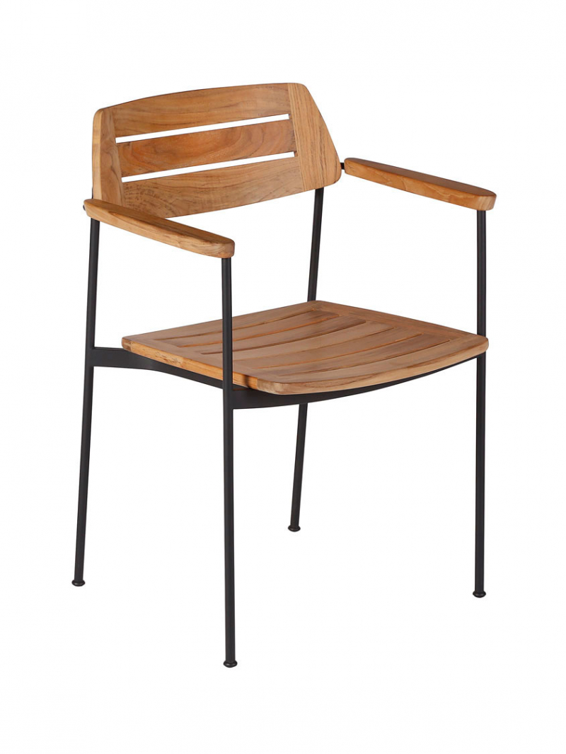 Frame: Powder-Coated Stainless Steel, Forge Grey | Seat & Back: Teak, Natural