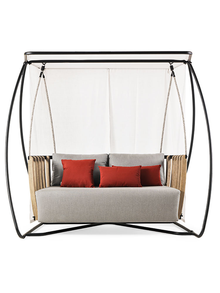 Ethimo's Swing Porch Swing | Note: White Curtains are Optional (upcharge applies)