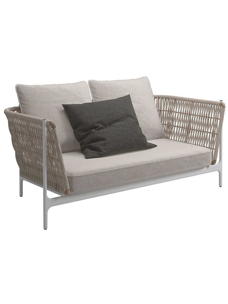 Grand Weave 2-Seater Sofa: All Cushions Included As Shown | Frame: Powder-Coated Aluminum, White | Back Panel: Rope, Almond