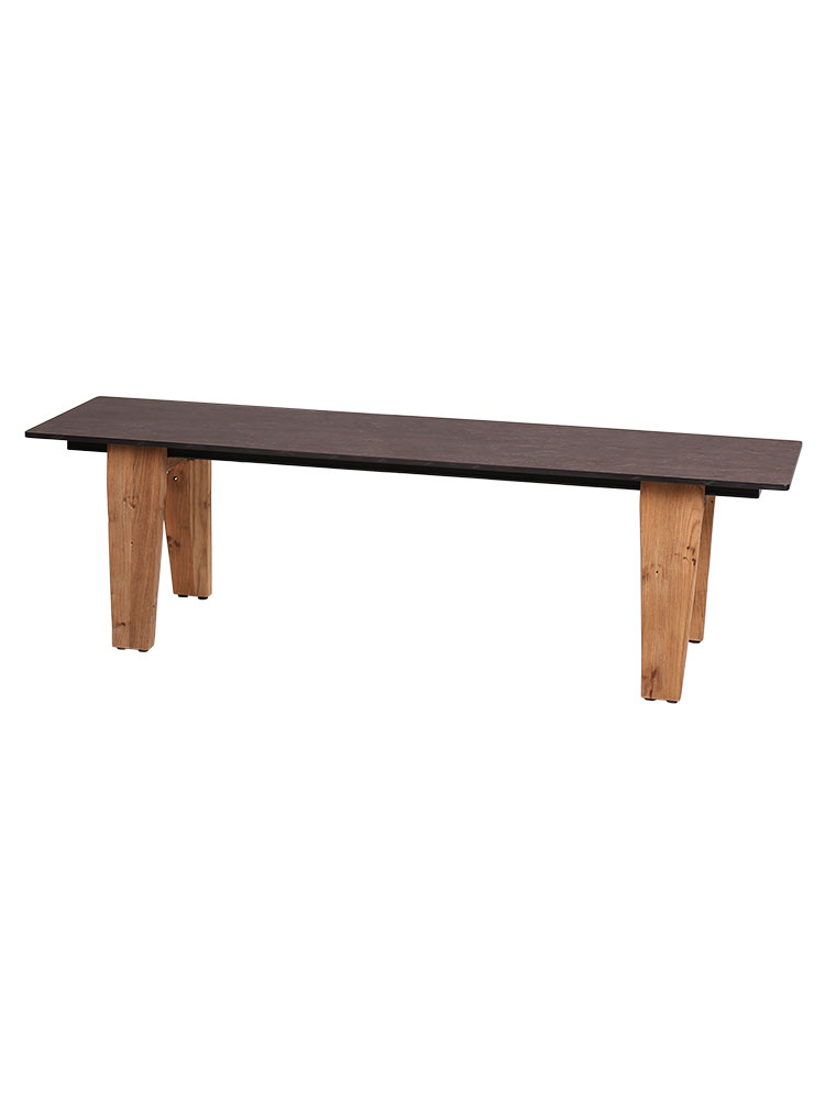 Frame Recycled Teak, Brushed | Top HPL, Slate