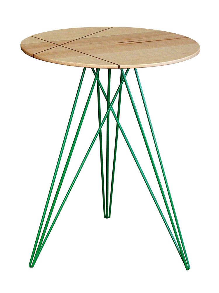 Legs Steel Powder-Coated, Green | Tabletop Maple with Inlay