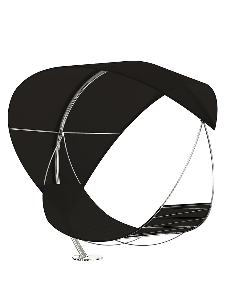 The Wave Canopy Hammock in Stainless Steel Electro Polished with Batyline Black