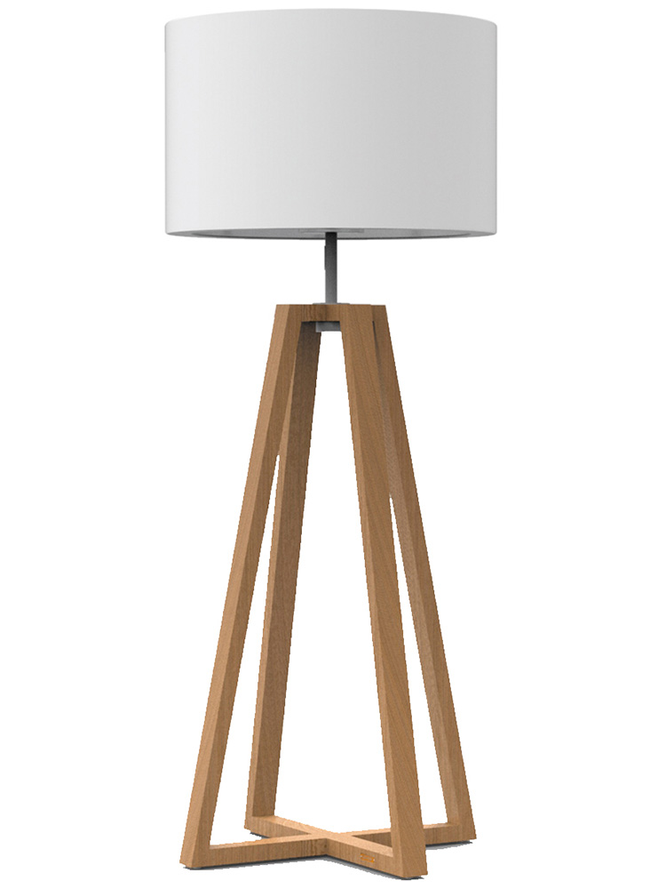 Tetrapod Teak | Fixtures Electro-Polished Stainless Steel | Lamp Shade PVC-Covered Fiberglass, Beige (TR)