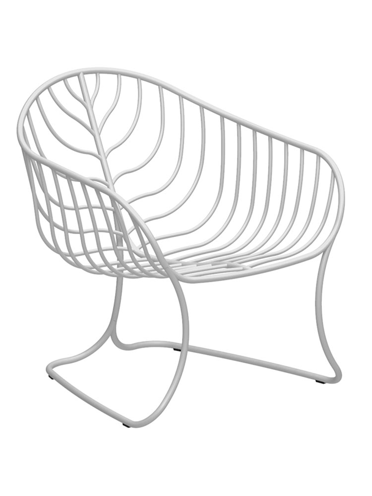 Folia Relax Chair in Coated Stainless Steel White RAL