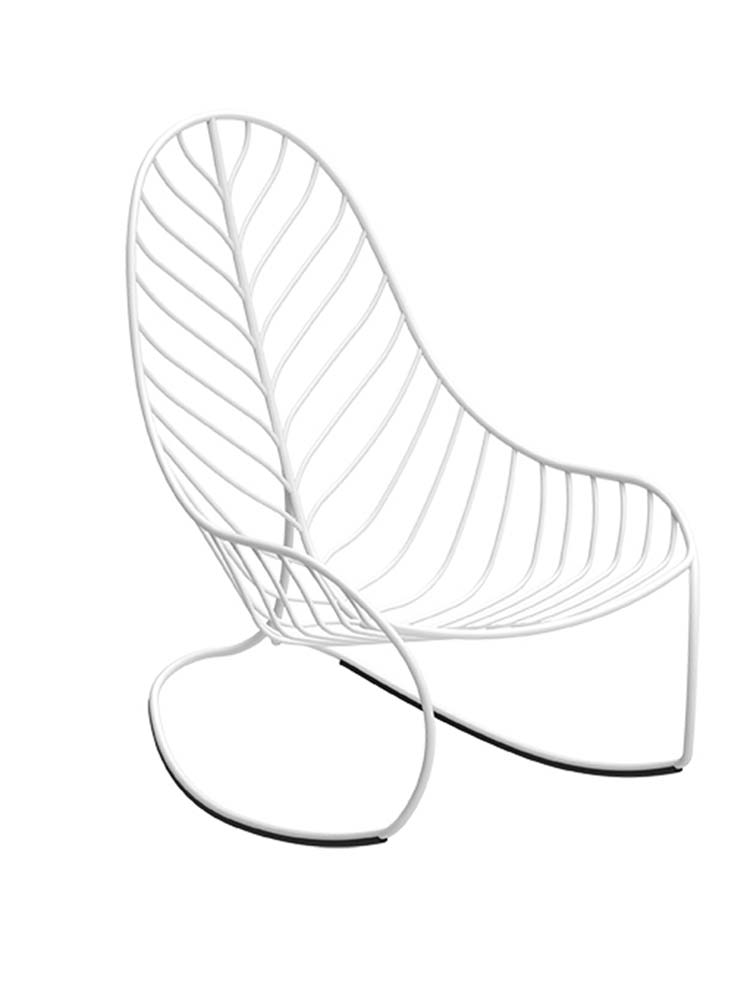 Folia Rocking Chair in Coated Stainless Steel White RAL