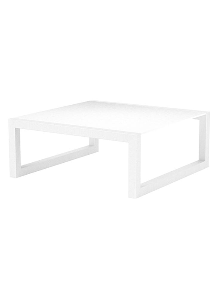 "Ninix 35"" Low Table in Coated Aluminium White with a Ceramic White Table Top"