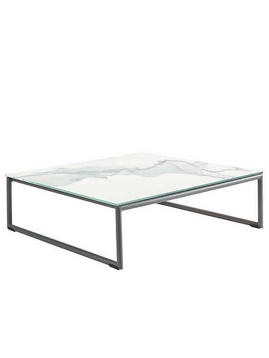 ceramic marble tabletop w/ lacquered aluminum frame