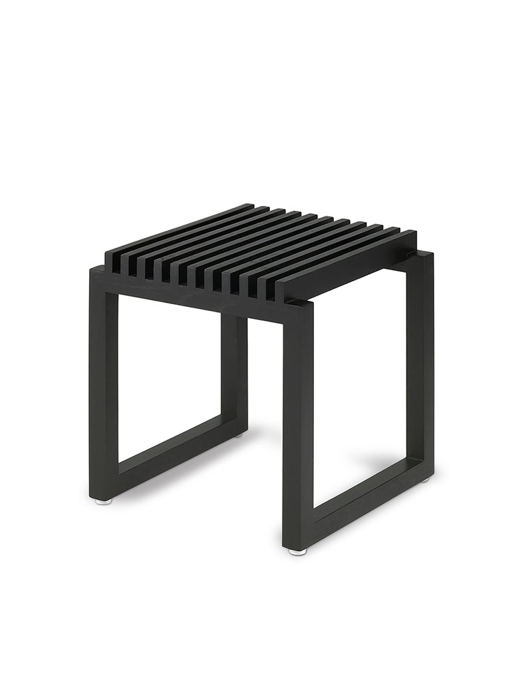 Cutter Stool in Oak Painted Black for Indoor Use
