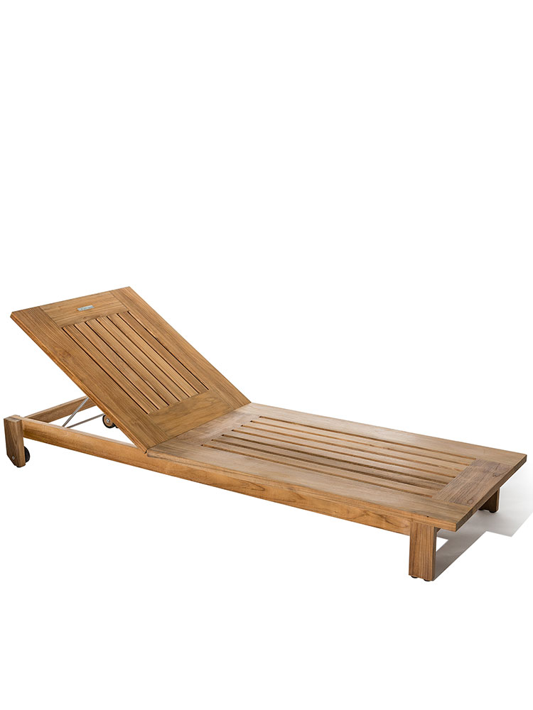 Teak Lounger with Wheels (cushion included | see image of lounger without wheels)