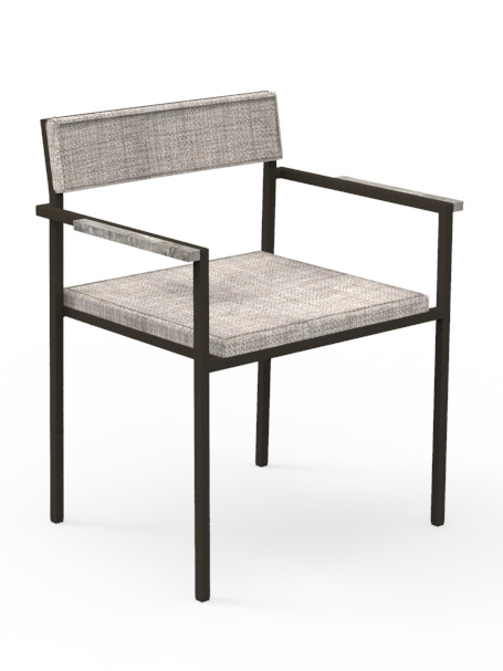 Frame Powder-Coated Stainless Steel, Mocha | Seat & Back, Grey Mélange | Armrest Accent Travertine, Titanium