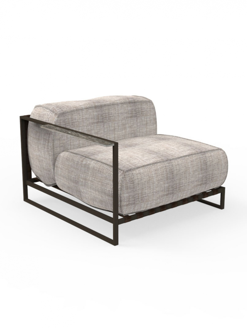 Frame Powder-Coated Stainless Steel, Mocha | Elastic Belt, Mocha | Cushion, Grey Mélange | Armrest Accent Travertine, Titanium