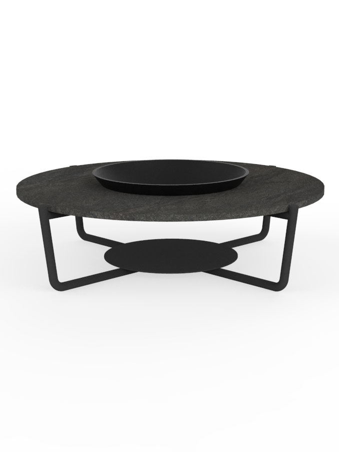 Frame Powder-Coated Aluminum, Graphite | Top Basaltina Marble with Fire Bowl
