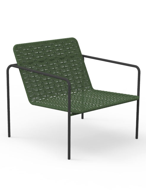 Frame Steel, Graphite | Seat and Back Synthetic Rope, Hunter Green