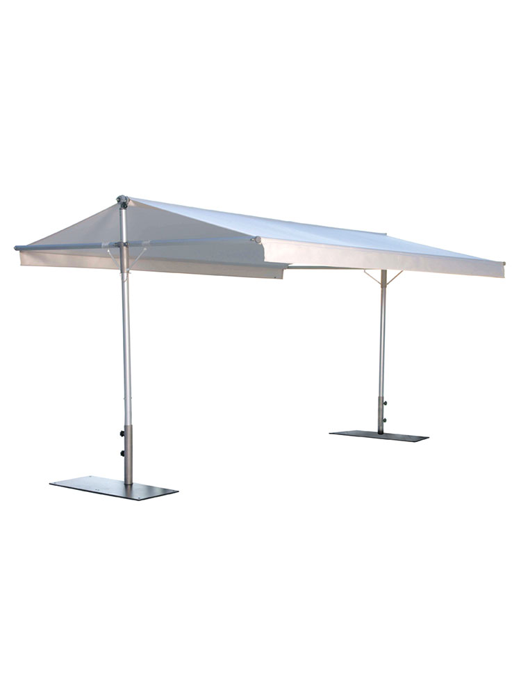 Pole & Roof Structure Stainless Steel | Awning Sunbrella Natural (bases required, sold separately)