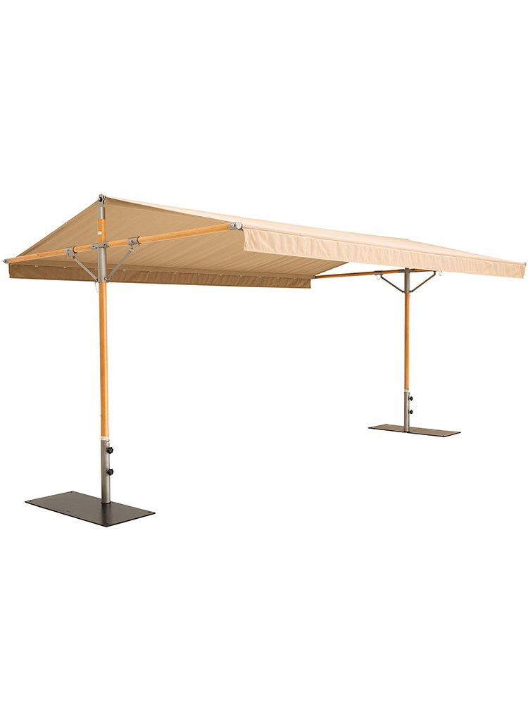 Pole Structure Eucalyptus | Roof Structure Stainless Steel | Awning Sunbrella Heather Beige (bases required, sold separately)