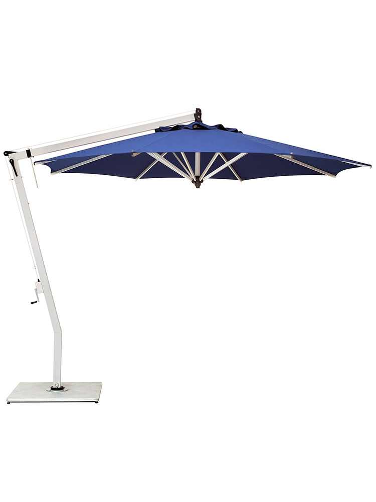 10.5' Picollo Round Cantilever | Canopy Navy Blue | Frame Aluminum Powder-Coated Silver (base required, sold separately)