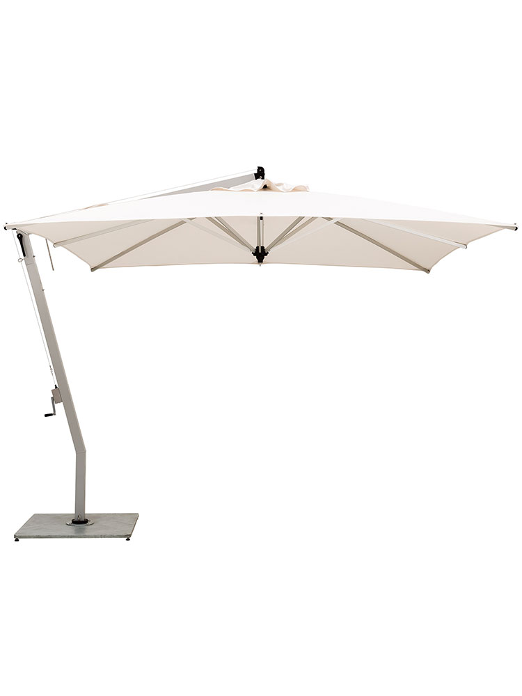 9.8' Picollo Square Cantilever | Canopy Sunbrella Natural | Frame Aluminum Powder-Coated Silver (base required, sold separately)