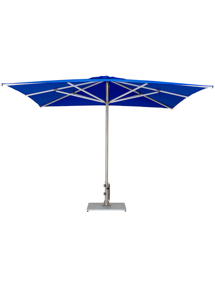 9.8' Storm Square Center Pole Umbrella | Frame Stainless Steel | Canopy Sunbrella, True Blue (base required, sold separately)