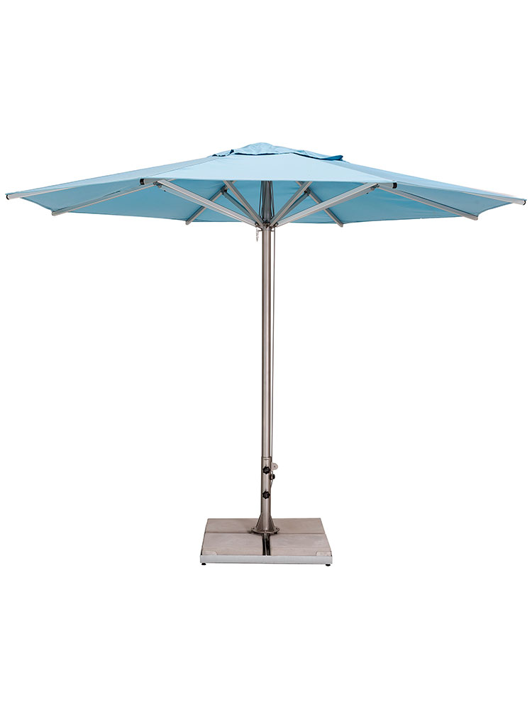 11.5' Storm Round Center Pole Umbrella | Frame Stainless Steel | Canopy Sunbrella, Mineral Blue (base required, sold separately)