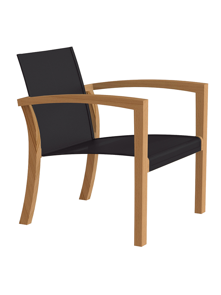 XQI Relaxi Chair in Teak Natural with Batyline Black