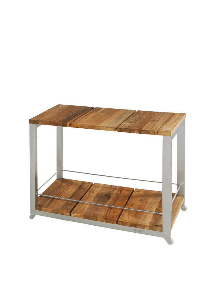 Frame Stainless Steel, Original Hairline Finish   Top and Bottom Recycled Teak Brushed