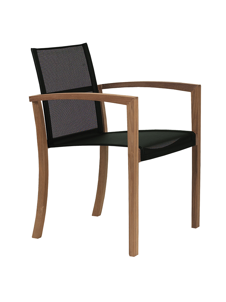 XQI Arm Chair in Teak Natural with Batyline Black